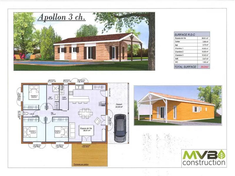 Terrains Terrain avec maison neuve 3 chambres