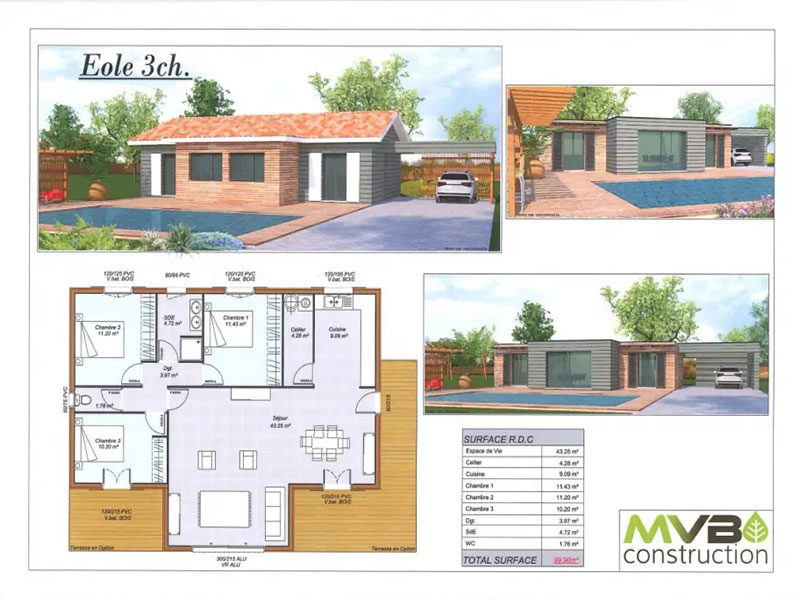 Terrains Terrain avec maison 3 chambres